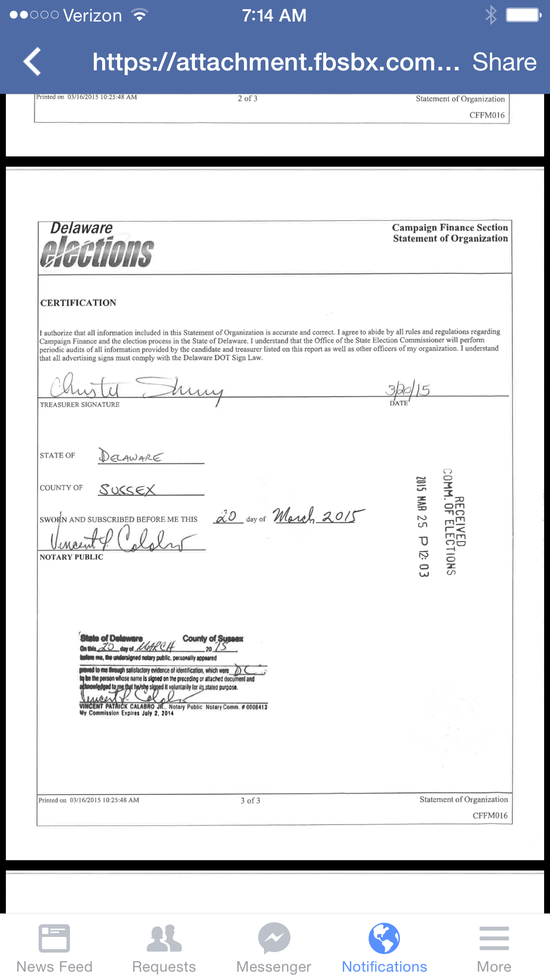 Did vince calabro the chair of the sussex gop help submit so the above document is page three of the form that one must submit to create a pac in the state of delaware this is the certification page where the xflitez Gallery