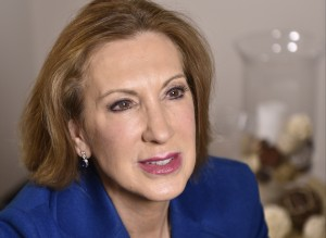 4/1/15 10:46:58 AM -- Alexandria, VA, U.S.A -- Carly Fiorina, former CEO of Hewlett-Packard and one-time Republican nominee for Senate from California, speaks with USA TODAY Washington Bureau Chief Susan Page for Capital Download. Photo by H. Darr Beiser, USA TODAY staff ORG XMIT: HB 132902 CAP Down Carly F 4/01/2015 [Via MerlinFTP Drop]